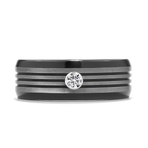 Commanding Black-Titanium Tri-Dome Bevel Band