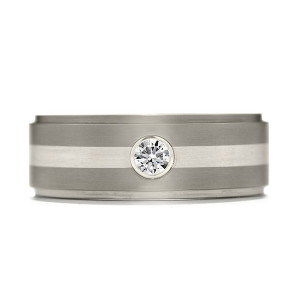 Commanding Grey-Titanium-Diamond Inlay Step Band