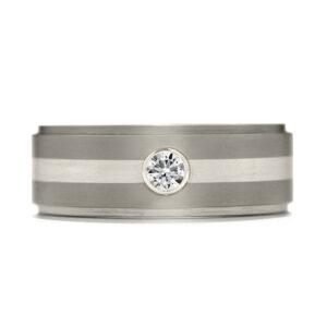Commanding Grey-Titanium-Diamond Inlay Step Band