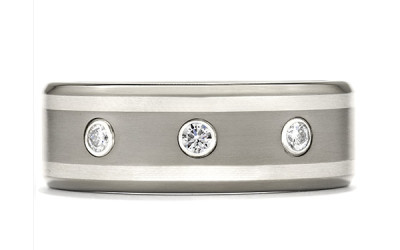 Commanding Grey-Titanium Double Inlay Bevel Band