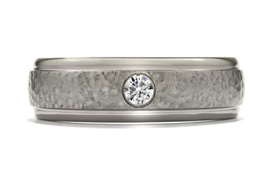 Commanding Grey-Titanium Hammered Dome Step Band