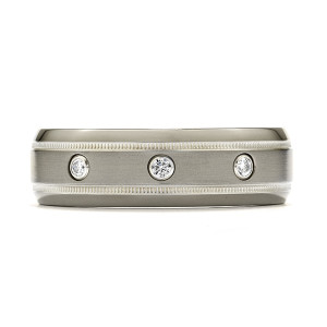Commanding Grey-Titanium Milgrain Inlay Dome Band