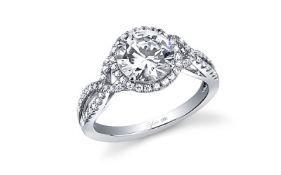 Criss-Cross Shank Diamond Engagement Ring