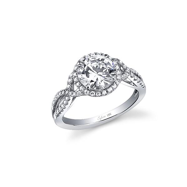 Criss-Cross Shank Diamond Engagement Ring