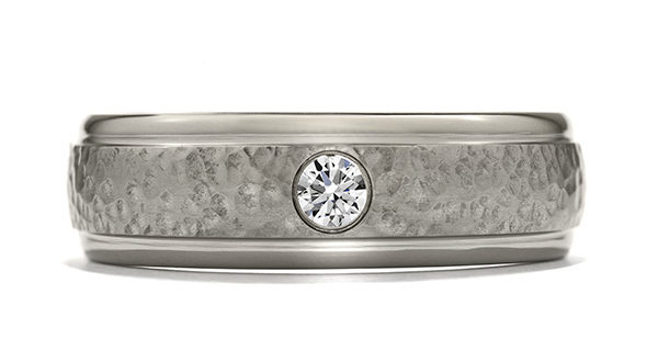 Commanding Grey Titanium Hammered Dome Step Band Ring